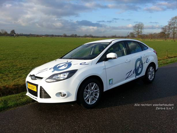 Zero-e b.v. Ford Focus 4d op CNG / groengas voorkant